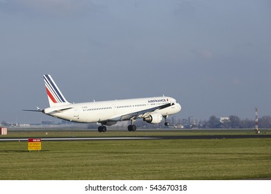 AMSTERDAM, THE NETHERLANDS - APRIL, 8. The Air France Airbus A321-212 with identification F.GTAZ lands at Amsterdam Airport Schiphol (The Netherlands, AMS), Polderbaan on April 8, 2016.