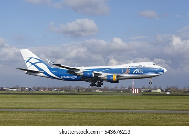 AMSTERDAM, THE NETHERLANDS - APRIL, 8. The AirBridge Cargo Boeing 747-4KZF(SCD) with identification VQ-BHE lands at Amsterdam Airport Schiphol (The Netherlands, AMS), Polderbaan on April 8, 2016.
