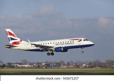 AMSTERDAM, THE NETHERLANDS - APRIL, 8. The British Airways Embraer ERJ-170STD with identification G-LCYD lands at Amsterdam Airport Schiphol (The Netherlands, AMS), Polderbaan on April 8, 2016.