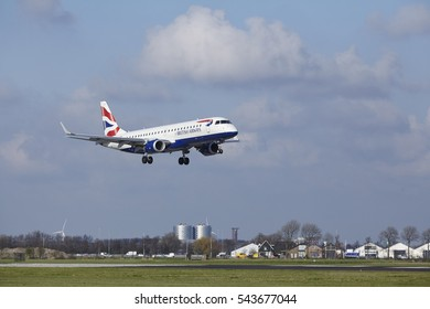 AMSTERDAM, THE NETHERLANDS - APRIL, 8. The British Airways (BA CityFlyer) Embraer ERJ-190SR with identification G-LCYO lands at Airport Schiphol (The Netherlands, AMS), Polderbaan on April 8, 2016.