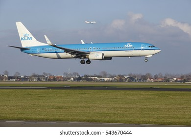 AMSTERDAM, THE NETHERLANDS - APRIL, 8. The KLM Boeing 737-9K2 with identification PH-BXS lands at Amsterdam Airport Schiphol (The Netherlands, AMS), Polderbaan on April 8, 2016.