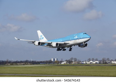 AMSTERDAM, THE NETHERLANDS - APRIL, 8. The KLM Boeing 747-406(M) with identification PH-BFW lands at Amsterdam Airport Schiphol (The Netherlands, AMS), Polderbaan on April 8, 2016.