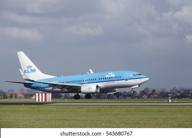 AMSTERDAM, THE NETHERLANDS - APRIL, 8. The KLM Boeing 737-7K2 with identification PH-BGM lands at Amsterdam Airport Schiphol (The Netherlands, AMS), Polderbaan on April 8, 2016.