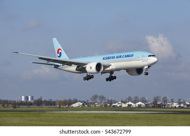 AMSTERDAM, THE NETHERLANDS - APRIL, 8. The Korean Air Cargo Boeing 777-FB5 with identification HL8005 lands at Amsterdam Airport Schiphol (The Netherlands, AMS), Polderbaan on April 8, 2016.