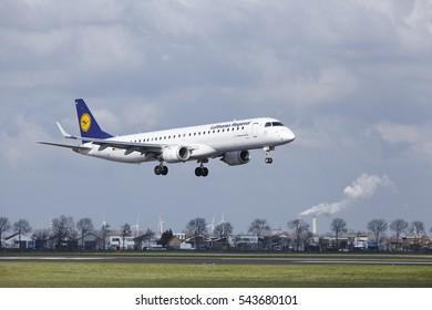 AMSTERDAM, THE NETHERLANDS - APRIL, 8. The Lufthansa CityLine Embraer ERJ-195LR with identification D-AEBH lands at Amsterdam Airport Schiphol (The Netherlands, AMS), Polderbaan on April 8, 2016.