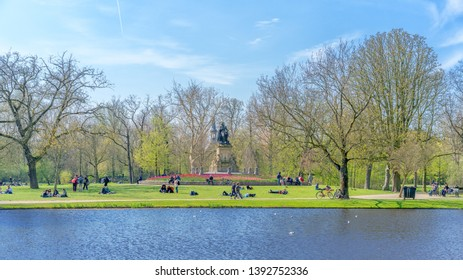 Amsterdam, The Netherlands - April 9, 2019: Vondelpark a favorite place for rest and walking residents and tourists.