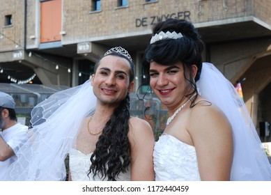 Amsterdam, The Netherlands - Aug 05 2018: Brides of the Iran Boat in Amsterdam Pride 2018