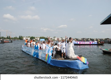 Amsterdam, The Netherlands - Aug 05 2018: The Iran Boat in Amsterdam Canal Pride Parade 2018