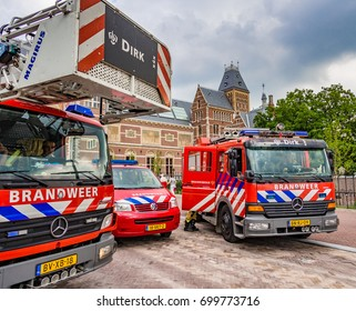 AMSTERDAM, NETHERLANDS - AUG 30: Fire engines in Amsterdam, the Netherlands  on August 30, 2013. Amsterdam is the capital city and most populous city of the Kingdom of the Netherlands.
