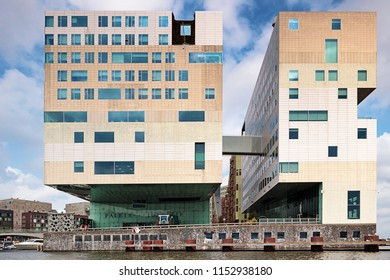 Amsterdam, The Netherlands -Aug 8th 2018 - The Palace of Justice building in Amsterdam. Modern architecture designed by Claus en Kaan Architects.