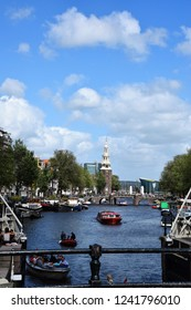 Amsterdam, Netherlands - August 03, 2017: View from Magere Brug, Kerkstraat - Visiting the city of Amsterdam, Holland, Netherlands