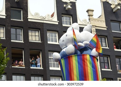 Amsterdam, Netherlands - August 1, 2015: decorated boat at the annual event for the protection of human rights and civil equality - Gay Pride Parade on the Prinsengracht, Amsterdam