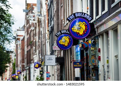 "Amsterdam, Netherlands - August 12, 2019. A branch of the famous coffeeshop ""The Bulldog"" in Red Light District."