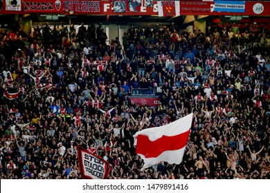Amsterdam, Netherlands - August 13, 2019. Ajax fans during a soccer match between Ajax AFC and PAOK FC.