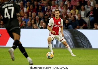 Amsterdam, Netherlands - August 13, 2019. Ajax's player Joel Veltman in action during a soccer match between Ajax AFC and PAOK FC.