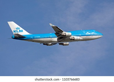 AMSTERDAM, THE NETHERLANDS - AUGUST 14,2017: Blue Boeing 747 of the Klm just rising from the Schiphol Airport runway