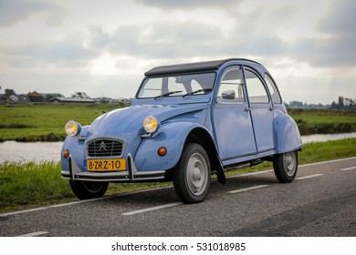 AMSTERDAM, NETHERLANDS - AUGUST 15, 2016: Blue Citroen 2CV Special from 1990 parked in the polder near Amsterdam