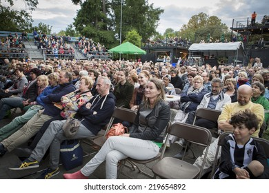Amsterdam, The Netherlands - august 16 2014: during the open air screening of Uruguayan film Rambleras, Vondelpark, World Cinema Amsterdam festival, a world film festival held from 14 to 24/08/2014