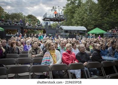 Amsterdam, The Netherlands - august 16 2014: during the open air screening of Uruguayan film Rambleras, Vondelpark, World Cinema Amsterdam festival, a world film festival held from 14 to 24/08/2014