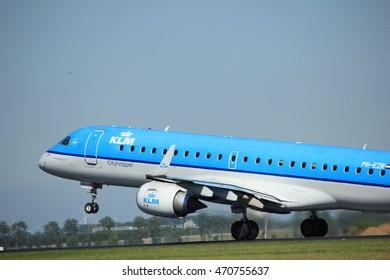 Amsterdam, the Netherlands  - August, 18th 2016: PH-EZR KLM Cityhopper Embraer ERJ-190STD  taking off from Polderbaan Runway Amsterdam Airport Schiphol