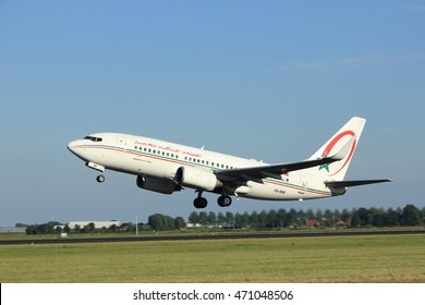 Amsterdam, the Netherlands  - August, 18th 2016: CN-RNR Royal Air Maroc Boeing 737-7B6, taking off from Polderbaan Runway Amsterdam Airport Schiphol