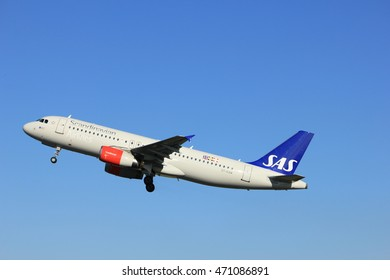 Amsterdam, the Netherlands  - August, 18th 2016: OY-KAW SAS Scandinavian Airlines Airbus A320, taking off from Polderbaan Runway Amsterdam Airport Schiphol