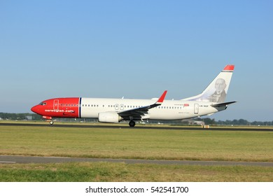 Amsterdam, the Netherlands  - August, 18th 2016: LN-NGF Norwegian Air Shuttle Boeing 737 taking off from Polderbaan Runway Amsterdam Airport Schiphol