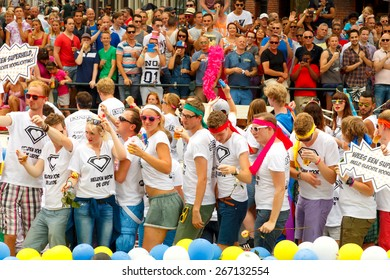 Amsterdam, Netherlands - August 2, 2014:  Participants of the annual event for the protection of the rights of gays, lesbians and civil equality.
