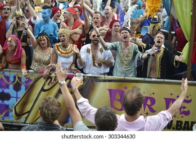 Amsterdam, Netherlands - August 2, 2014: participants in the annual event for the protection of human rights and civil equality - Gay Pride Parade on the Prinsengracht, Amsterdam