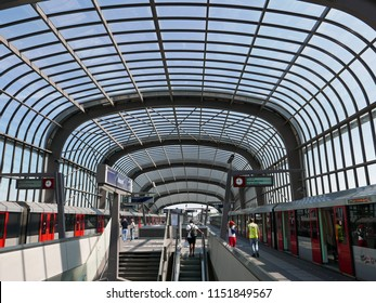 AMSTERDAM, NETHERLANDS – AUGUST 2 2018: Metro station North of metro line 52 in Amsterdam, also known as the North / South line. The line was officially opened on 21 July 2018 by the Amsterdam mayor.