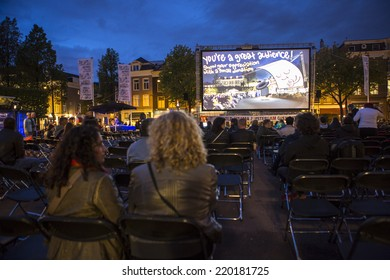Amsterdam, The Netherlands - august 20 2014: at the open air screening of Mexican film Parai�so, Marie Heinekeinplein, World Cinema Amsterdam festival, world film festival held from 14 to 24/08/2014