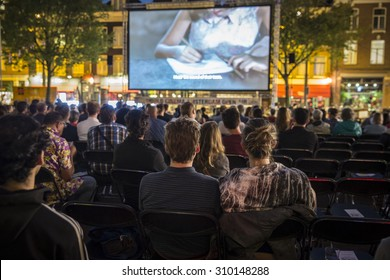 Amsterdam, The Netherlands - August 20 2015: open air screening of Colombian film Todos se Van at Marie Heinekenplein, during World Cinema Amsterdam, a world film festival held from 14 to 23/08/2015