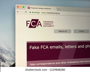 Amsterdam, the Netherlands - August 20, 2018: Website of The Financial Conduct Authority or FCA, a financial regulatory body in the United Kingdom.