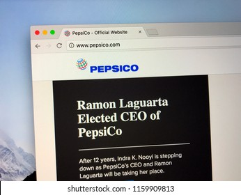 Amsterdam, the Netherlands - August 20, 2018: Website of PepsiCo, a American multinational food, snack, and beverage corporation.