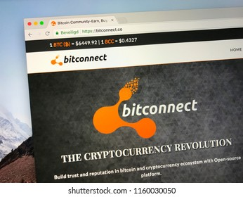 Amsterdam, the Netherlands - August 20, 2018: Website of Bitconnect, a cryptocurrency community for bitcoin and other crypto users to earn, learn, buy, sell and trade bitcoins.