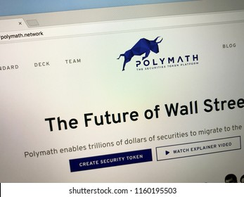 Amsterdam, the Netherlands - August 20, 2018: Website of Polymath, a network connecting crypto token investors.