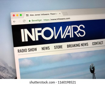 Amsterdam, the Netherlands - August 20, 2018: Homepage of the InfoWars website.