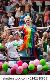 Amsterdam, Netherlands, August 2015, the colours and costumes of the Amsterdam Pride Parade