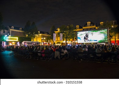 Amsterdam, The Netherlands - August 21 2015: open air screening of Peruvian film A Los 40  at Marie Heinekenplein, during World Cinema Amsterdam, a world film festival held from 14 to 23/08/2015