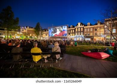 Amsterdam, The Netherlands - August 22 2018: open air screening of Brazilian film Benzinho at Marie Heinekenplein, during World Cinema Amsterdam, a world film festival held from 16 to 25/08/2018
