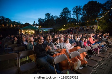 Amsterdam, The Netherlands - August 22 2018: open air screening of Kenyan film Supa Modo at  Vondelpark Openluchttheater during World Cinema Amsterdam, a world film festival held from 16 to 25/08/2018