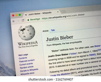 Amsterdam, the Netherlands - August 23, 2018: Wikipedia page about Justin Bieber on a computer monitor.
