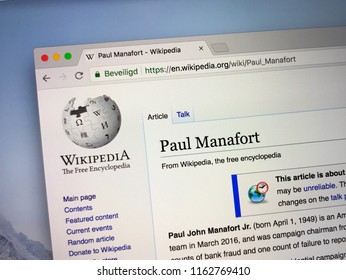 Amsterdam, the Netherlands - August 23, 2018: Wikipedia page about Paul Manafort on a computer monitor.