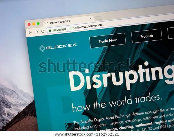 Amsterdam, the Netherlands - August 23, 2018: Website of BlockEx, a Digital Asset Exchange Platform