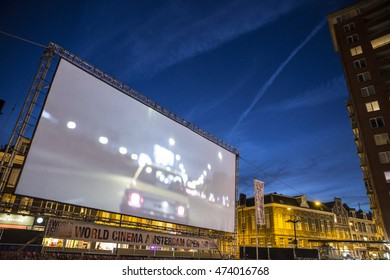 Amsterdam, The Netherlands - August 24 2016: open air screening of Argentine film Road to la Paz at Marie Heinekenplein, during World Cinema Amsterdam, a world film festival held from 18 to 27/08/2016