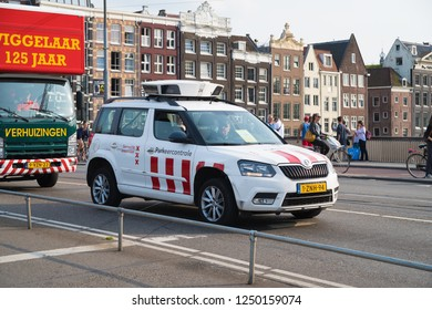 AMSTERDAM, NETHERLANDS - AUGUST 25, 2017: Car with automatic parking control system on its roof