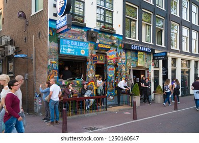 AMSTERDAM, NETHERLANDS - AUGUST 25, 2017:  Exterior of The Bulldog, the first and most famous coffeeshop in the dutch capital