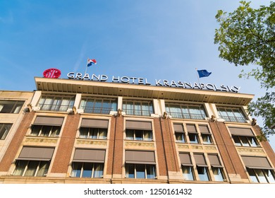 AMSTERDAM, NETHERLANDS - AUGUST 25, 2017:  Exterior of Grand Hotel Krasnapolsky, a five star hotel, at the Dam Square in the Dutch capital