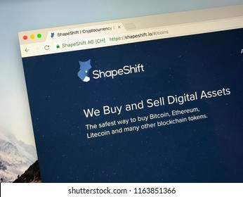 Amsterdam, the Netherlands - August 25, 2018: Website of ShapeShift, a company that offers global trading of a variety of digital assets via web and mobile platforms