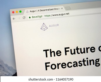 Amsterdam, the Netherlands - August 25, 2018: Website of Augur, a ethereum-based platform for betting on the outcome of real-world events.
